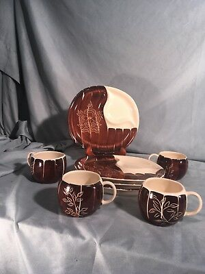 Intaglio Brown by PURINTON Set of 4 Divided Snack Plates and Cups Brown White