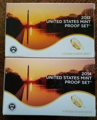 2013 - 2014 US Mint Proof Sets -TWO Sets w OGP - SPRING CLEANING SUPER SALE