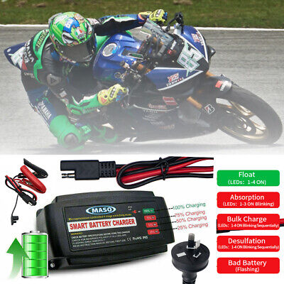 12V 5A AMP Smart Battery Charger Automatic 4 Stage Car Caravan Motorcycle Marine