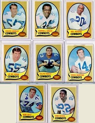 SET OF EIGHT- 1970 TOPPS Dallas Cowboys RED INK Football Cards + RALPH NEELY RC