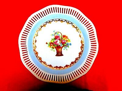 Vintage 1950's Hand Painted Floral Designed Pierced Display Plate