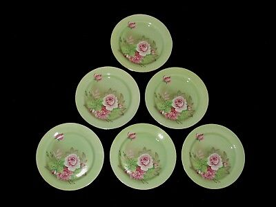 "UNUSED Set 6 Lefton HERITAGE 7 1/4"" Mint Green Salad Plates (pink roses flowers)"