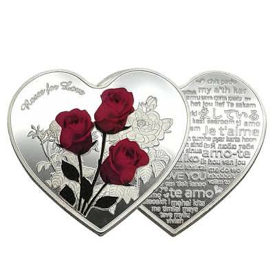 Silver 100 Languages Light I Love You Commemorative Coin Heart Valentine's Gift