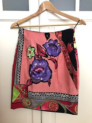 42be47585486 GIANNI VERSACE 1990s Couture Floral Pencil Skirt XS High Waisted 90s XS 6  EU 38