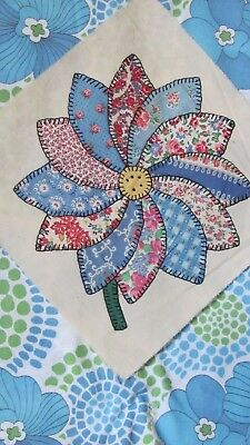 """DAHLIA DAISY SUNFLOWER QUILT BLOCK Pink and Blue 11.5"""" sq 1935-40's GORGEOUS"""