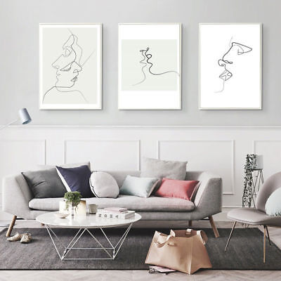 Nordic Abstract Minimalist Art Kiss Canvas Poster Print Moderne mur Picture