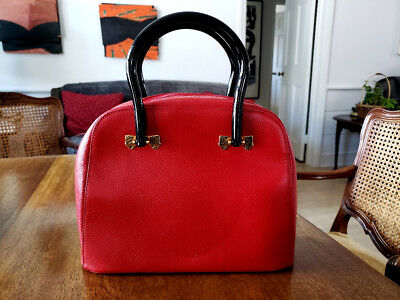 "NINA RICCI Embossed Red Leather Handbag Purse + Cover Width:11"" x Height: 8.25"""