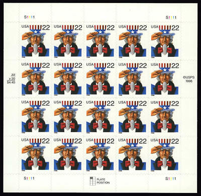 3259 3259a 22¢ Uncle Sam Sheet of 20 with 10.8 x 10.5 perf variety row 3 VF NH