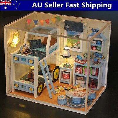 DIY Toy Wooden Dolls house Miniature Kit With LED Light Cover Furniture Gifts AU