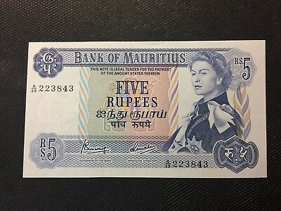 1967 Mauritius Five Rupee Note gch/Unc