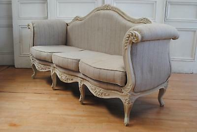 Vintage French Louis XVI  Rococo Canapé Sofa Linen Upholstery