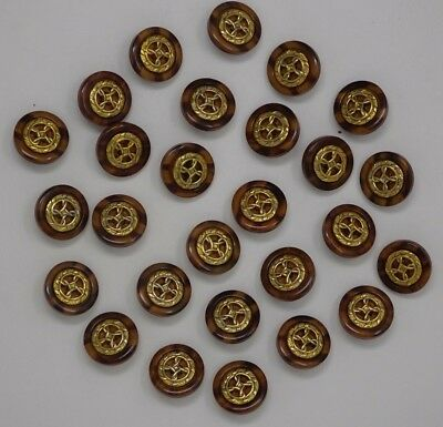 Vtg Gold Emblem w/ Two-Tone Background Round Shank Buttons 21mm Lot of 8 J30-12