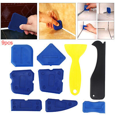 9pcs Silicone Sealant Spreader Profile Applicator Tile Grout Tools Home Help