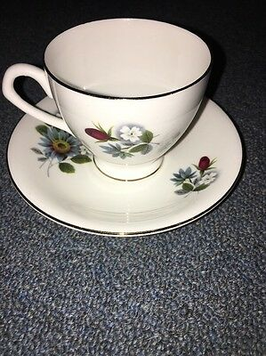 Elizabethan Fine Bone China England Cup and Saucer- White Floral Gold Trim