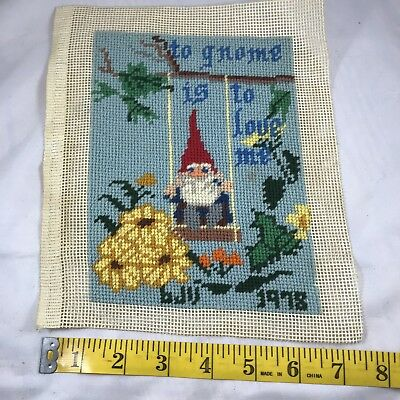 Vintage Needlepoint Completed Finished To Gnome Is To Love Me 1978 Swing Flowers