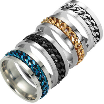 Men's Black/Golden/ Silver Rings Stainless Titanium Chain Steel Jewelry Gift