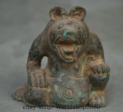 """3.8"""" Collected Rare Antique Old Chinese Bronze Dynasty Pig Head Beast Statue"""