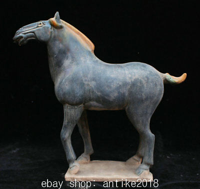 32CM Ancient Chinese Tang Sancai Porcelain Dynasty Tang Horse Animal Sculpture