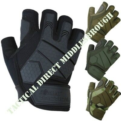 Mens Alpha Fingerless Tactical Gloves Rubber Knuckle Micro Fibre Army Airsoft