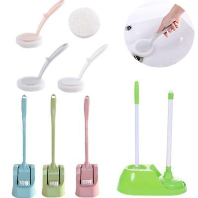 Long Handle Toilet Brush Set Standing Holder Bathroom Cleaning Brush Wash Tool