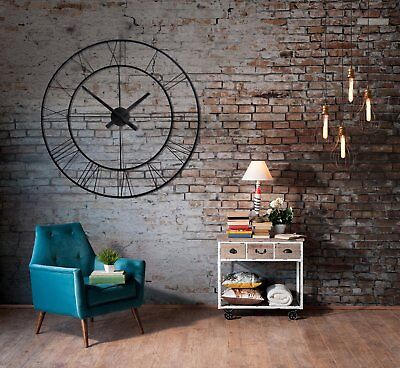 Metal Wall Clock Round Square Figures Large Clock Vintage Industrial Design