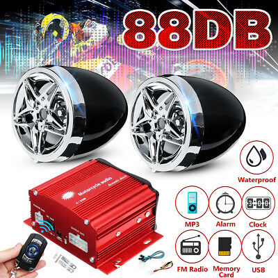12V 88dB Motorrad Hupe Audio MP3 Player Wecker FM USB bluetooth Redner Rot Loud