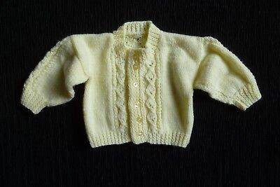Baby clothes UNISEX BOY GIRL 0-3m pale yellow, soft patterned cardigan SEE SHOP!