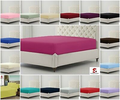 Plain Dyed Poly-Cotton Percale Fitted Bed Sheet Single Double King Pillowcases