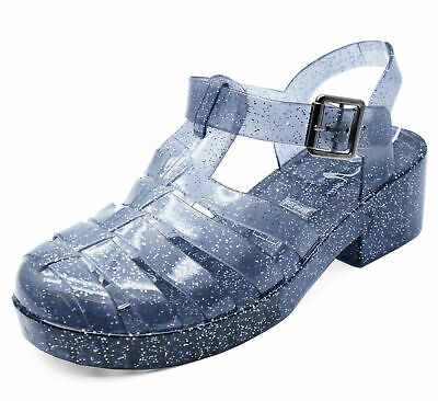 Girls Junior Black Glitter Low-Heel Holiday Summer Jelly Sandals Shoes Uk 11-3