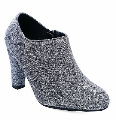 18a5405f41d Womens Silver Shimmer Wide-Fit Eee Comfy Zip-Up Ankle Boot Party Shoes Sizes
