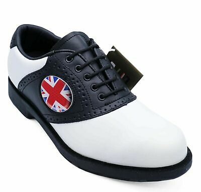 Mens Leather Lace-Up Golf White Lace-Up Brogues Loafers Sports Shoes Sizes 6-11