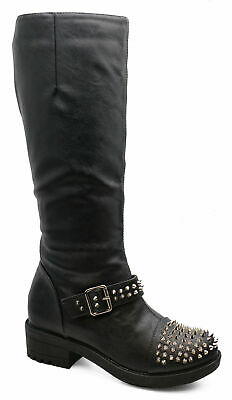 Womens Black Zip-Up Knee-High Tall Rock Chick Biker Riding Boots Shoes Sizes 3-8