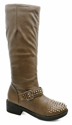 Womens Taupe Zip-Up Knee-High Tall Rock Chick Biker Riding Boots Shoes Sizes 3-8