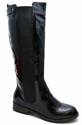 Womens Black Patent Stretch Zip-Up Knee-High Rock Chick Biker Comfy Boots 3-8