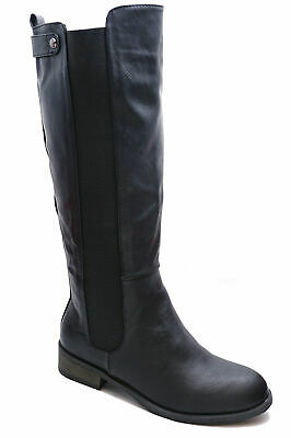 Womens Black Stretch Zip-Up Knee-High Rock Chick Biker Comfy Boots Sizes 3-8