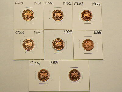1981 to 1988 Canada Cents Lot of 8 Proof  Uncirculated Coins  #G731