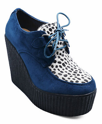 Womens Navy Leopard Wedges Lace-Up Smart Casual Retro Platform Shoes Uk 3-8