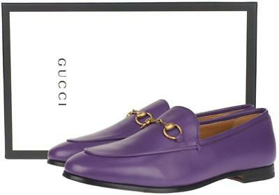 d8e7648a1 New Gucci Ladies Current Purple Leather Jordaan Horsebit Loafers Shoes 37.5