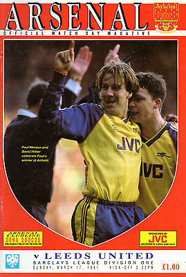 ARSENAL -v- LEEDS UNITED - BARCLAYS DIVISION ONE - 17th MARCH 1991 - PROGRAMME