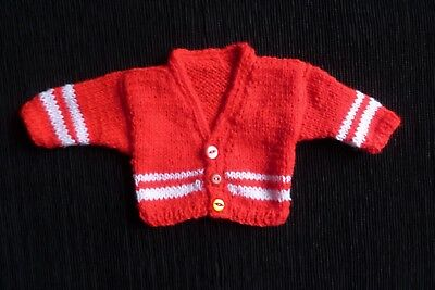 Baby clothes UNISEX BOY GIRL premature/tiny<5lbs/2.3kg red/white soft cardigan