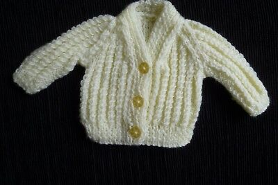 Baby clothes UNISEX BOY GIRL premature/tiny<4lbs/1.8kg pale yellow soft cardigan