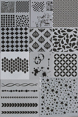 Variety of Patterns Background Mylar New Mask/Stencil/Template Mixed Media