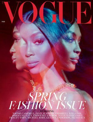 UK British Vogue Magazine March 2019: NAOMI CAMPBELL COVER & FEATURE