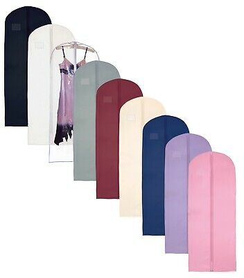 """Hoesh Pack of 7 Breathable 60"""" Long Zipped Bridesmaid Dress Cover Garment Bags"""