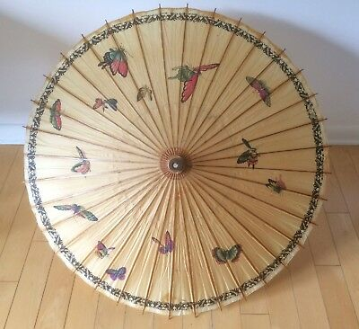 Vintage Asian Rice Paper Hand Painted Butterfly Umbrella Parasol Wood Decor