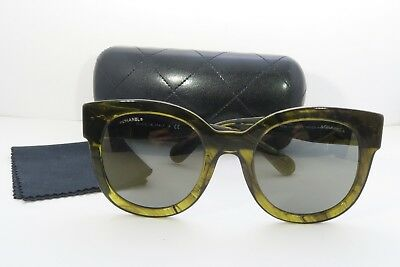 51122ee87df8a CHANEL WOMEN S GREEN Sunglasses with case 5358 c.1568 Y9 53mm ...