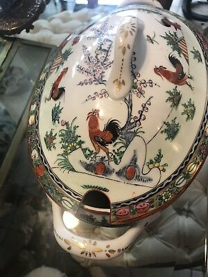 Chinese Porcelain Soup Tureen Rooster Design