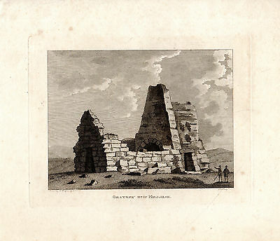 Rare Antique Irish Print - Oratory  Near Killalee - Copperplate (1791)