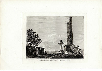 Rare Antique Irish Print - Monasterboise Church And Tower, County Louth (1793)