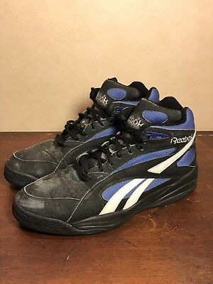 5a8d8e92e0cb Vintage 80 s 90 s Reebok High Top Mens Black Blue Shoes Sz 10.5 R302YY1  4-20309
